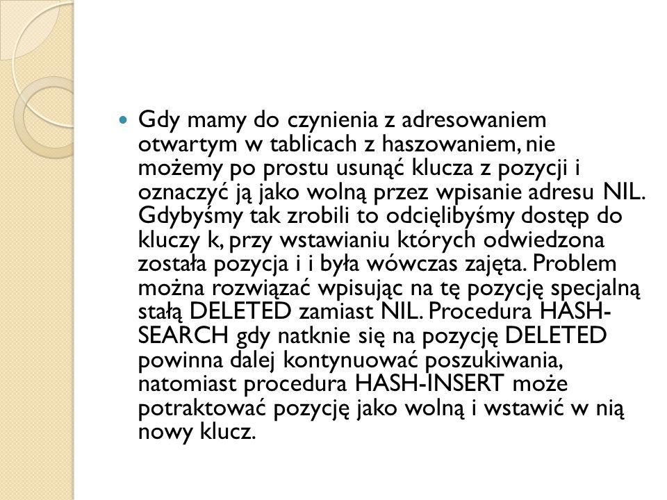 Gdy mamy do czynienia z adresowaniem otwartym w tablicach z haszowaniem, nie możemy po prostu usunąć klucza z pozycji i oznaczyć ją jako wolną przez wpisanie adresu NIL.