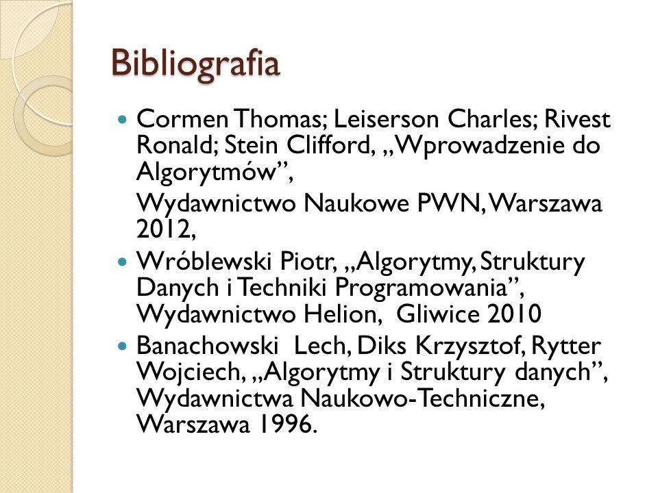 "Bibliografia Cormen Thomas; Leiserson Charles; Rivest Ronald; Stein Clifford, ""Wprowadzenie do Algorytmów ,"