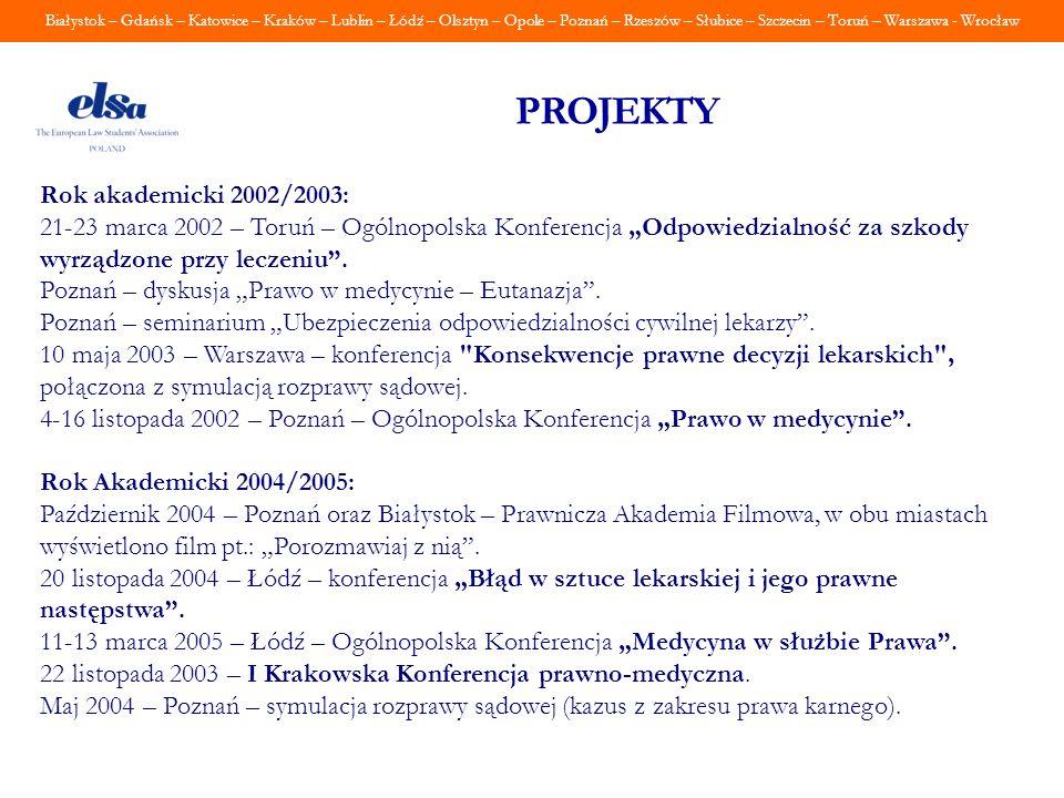 PROJEKTY Rok akademicki 2002/2003: