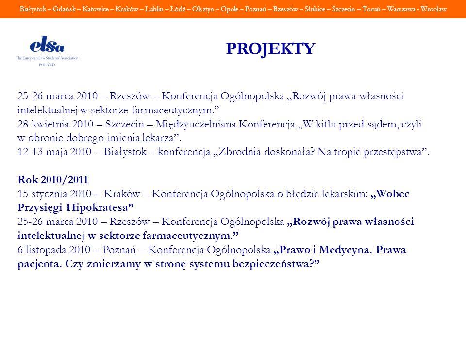 """PROJEKTY 25-26 marca 2010 – Rzeszów – Konferencja Ogólnopolska """"Rozwój prawa własności intelektualnej w sektorze farmaceutycznym."""