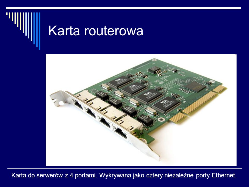 Karta routerowa Karta do serwerów z 4 portami. Wykrywana jako cztery niezależne porty Ethernet.