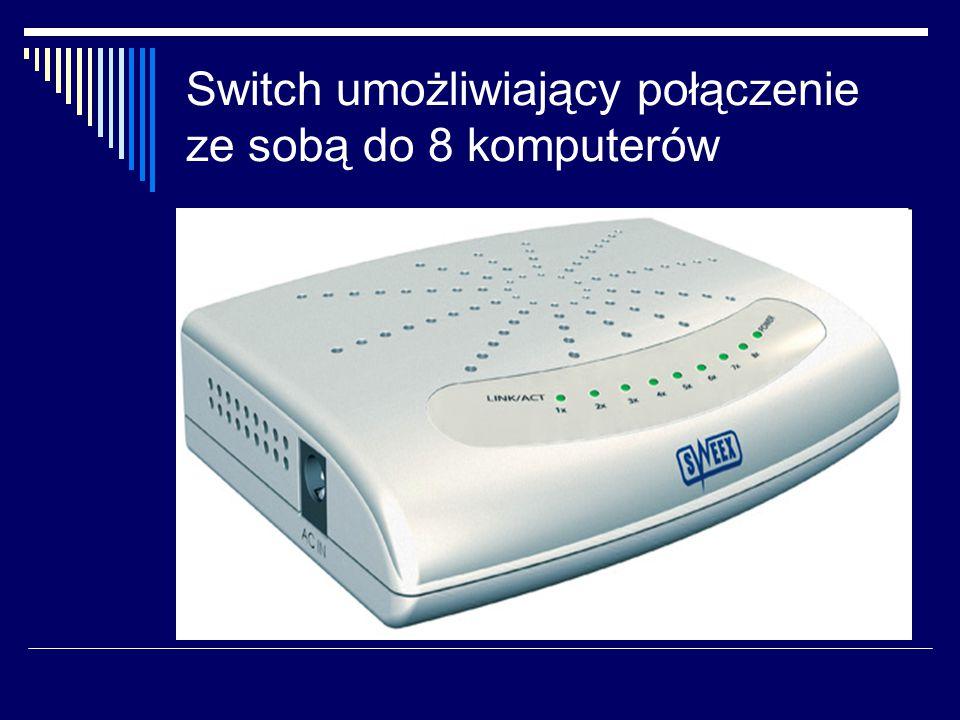 Switch umożliwiający połączenie ze sobą do 8 komputerów