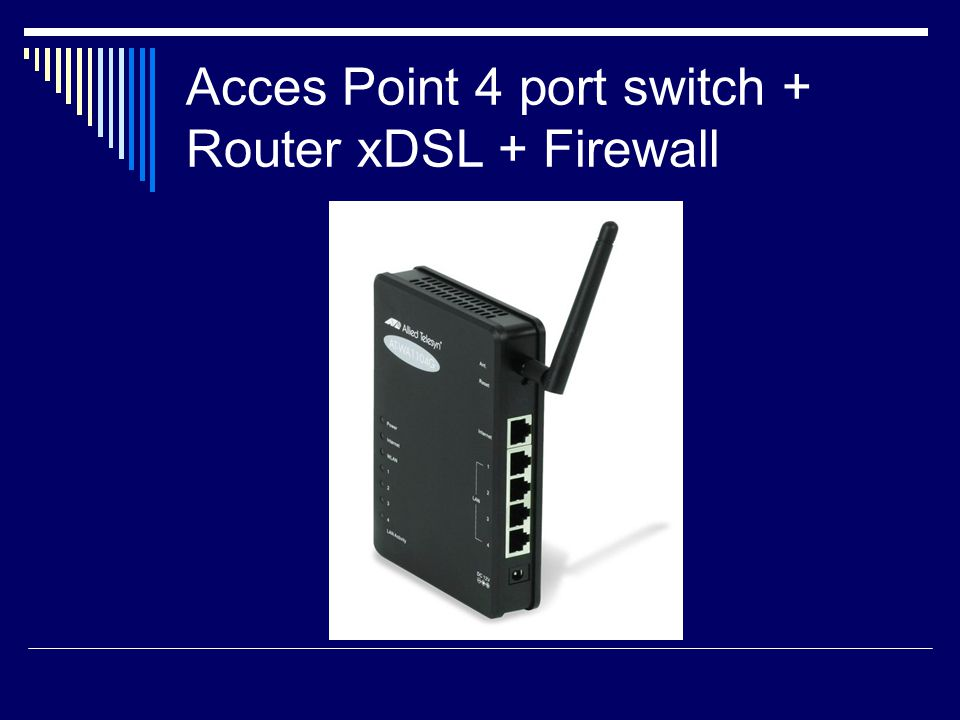 Acces Point 4 port switch + Router xDSL + Firewall