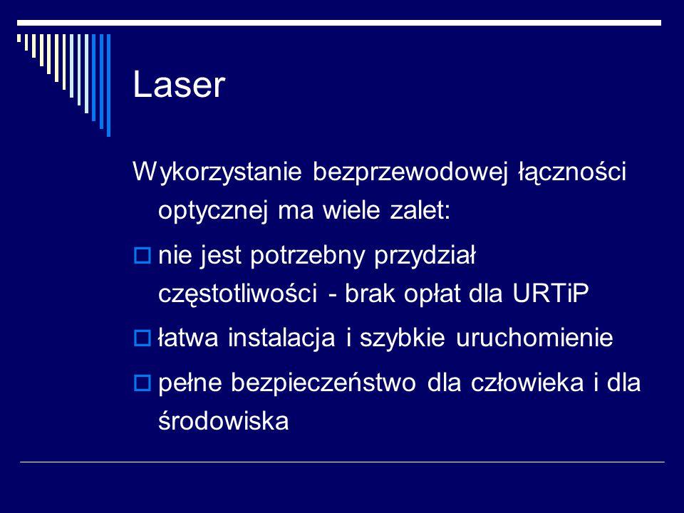Laser Wykorzystanie bezprzewodowej łączności optycznej ma wiele zalet: