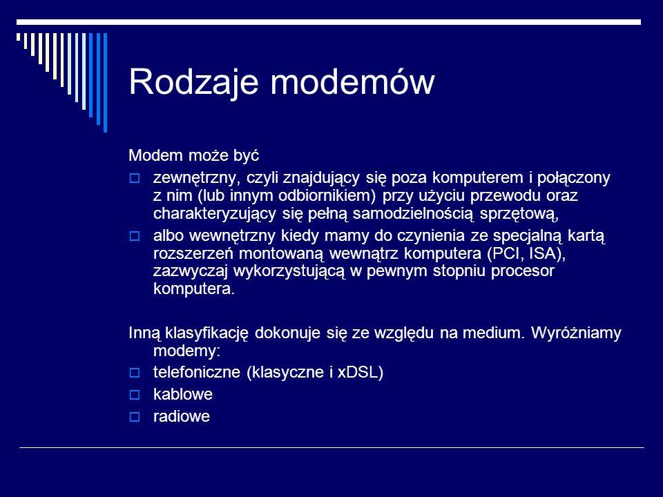 Rodzaje modemów Modem może być