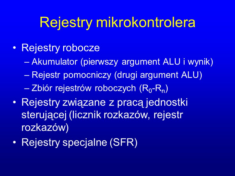 Rejestry mikrokontrolera