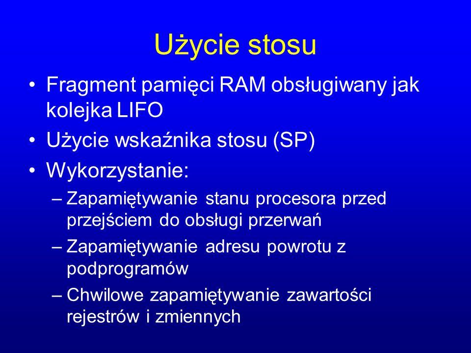 Użycie stosu Fragment pamięci RAM obsługiwany jak kolejka LIFO
