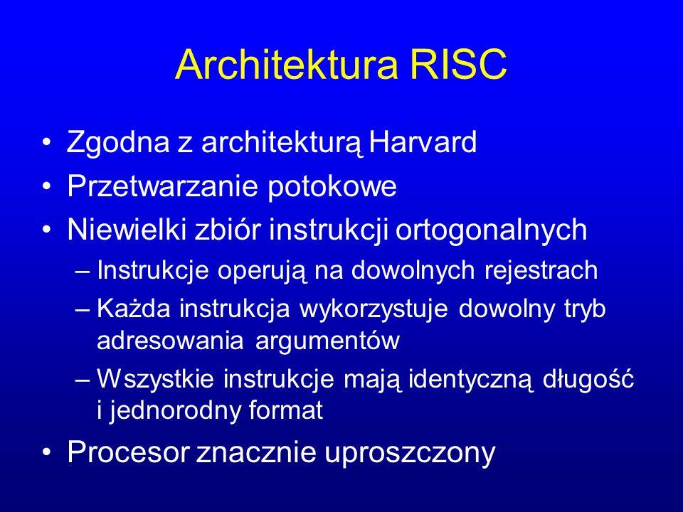 Architektura RISC Zgodna z architekturą Harvard Przetwarzanie potokowe