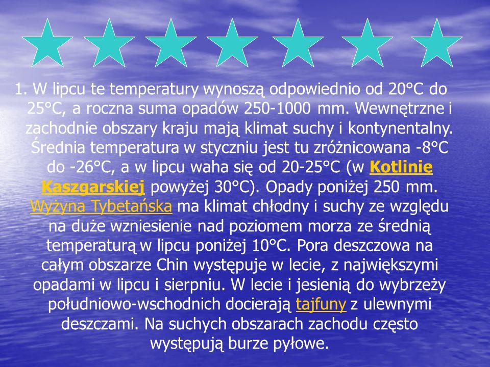 W lipcu te temperatury wynoszą odpowiednio od 20°C do 25°C, a roczna suma opadów 250-1000 mm. Wewnętrzne i zachodnie obszary kraju mają klimat suchy i kontynentalny. Średnia temperatura w styczniu jest tu zróżnicowana -8°C do -26°C, a w lipcu waha się od 20-25°C (w Kotlinie Kaszgarskiej powyżej 30°C). Opady poniżej 250 mm. Wyżyna Tybetańska ma klimat chłodny i suchy ze względu na duże wzniesienie nad poziomem morza ze średnią temperaturą w lipcu poniżej 10°C. Pora deszczowa na całym obszarze Chin występuje w lecie, z największymi opadami w lipcu i sierpniu. W lecie i jesienią do wybrzeży południowo-wschodnich docierają tajfuny z ulewnymi deszczami. Na suchych obszarach zachodu często występują burze pyłowe.