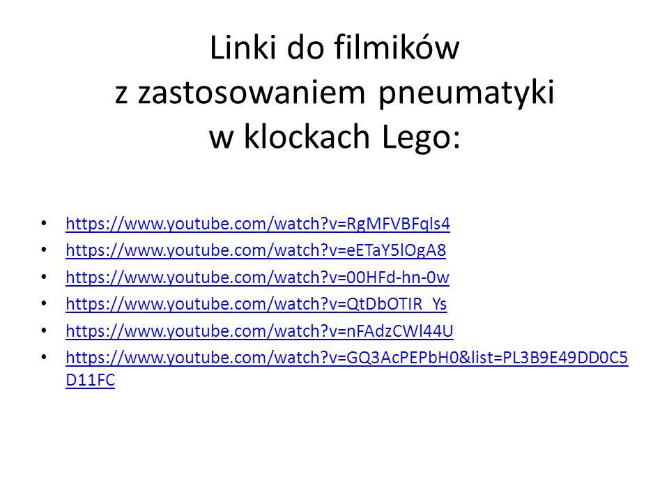 Linki do filmików z zastosowaniem pneumatyki w klockach Lego: