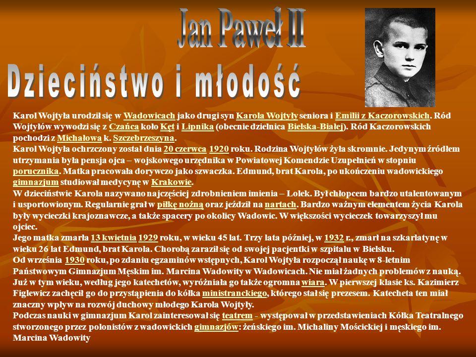 Jan Paweł II Dzieciństwo i młodość