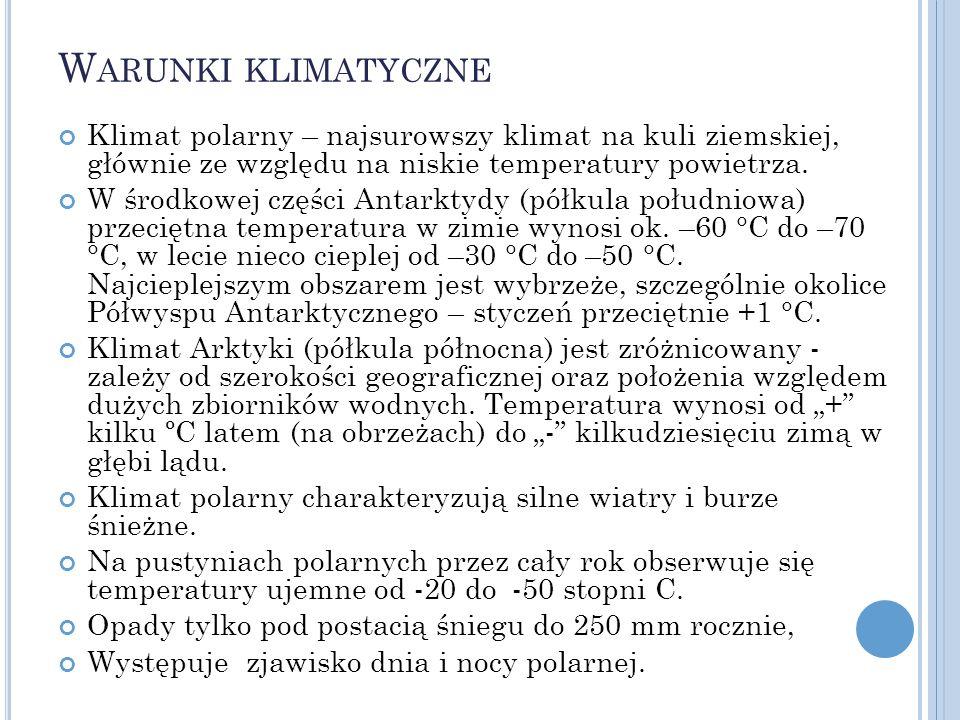 Warunki klimatyczne Klimat polarny – najsurowszy klimat na kuli ziemskiej, głównie ze względu na niskie temperatury powietrza.