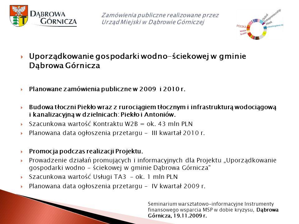 Uporządkowanie gospodarki wodno-ściekowej w gminie Dąbrowa Górnicza