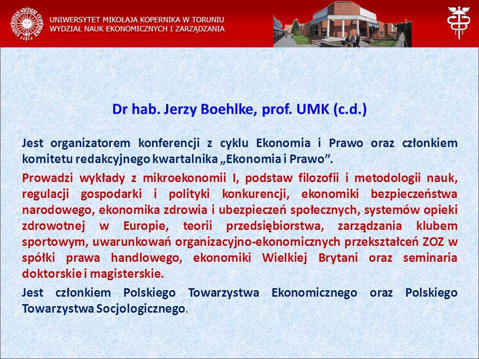 Dr hab. Jerzy Boehlke, prof. UMK (c.d.)