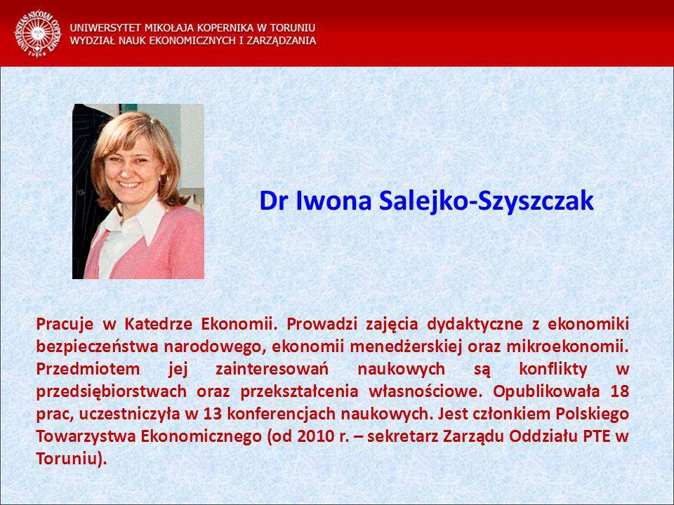 Dr Iwona Salejko-Szyszczak