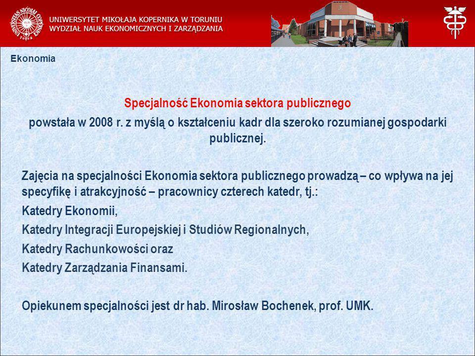 Specjalność Ekonomia sektora publicznego