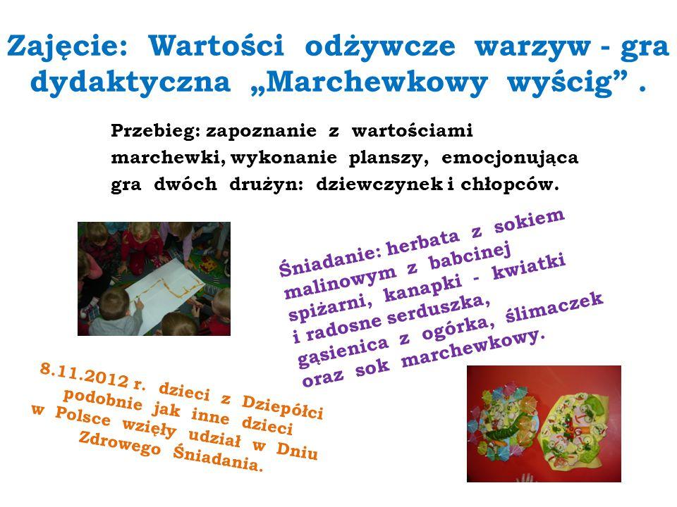 """Zajęcie: Wartości odżywcze warzyw - gra dydaktyczna """"Marchewkowy wyścig ."""
