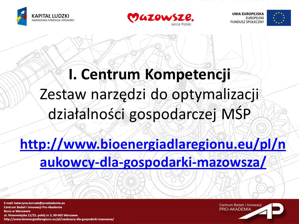 I. Centrum Kompetencji Zestaw narzędzi do optymalizacji działalności gospodarczej MŚP