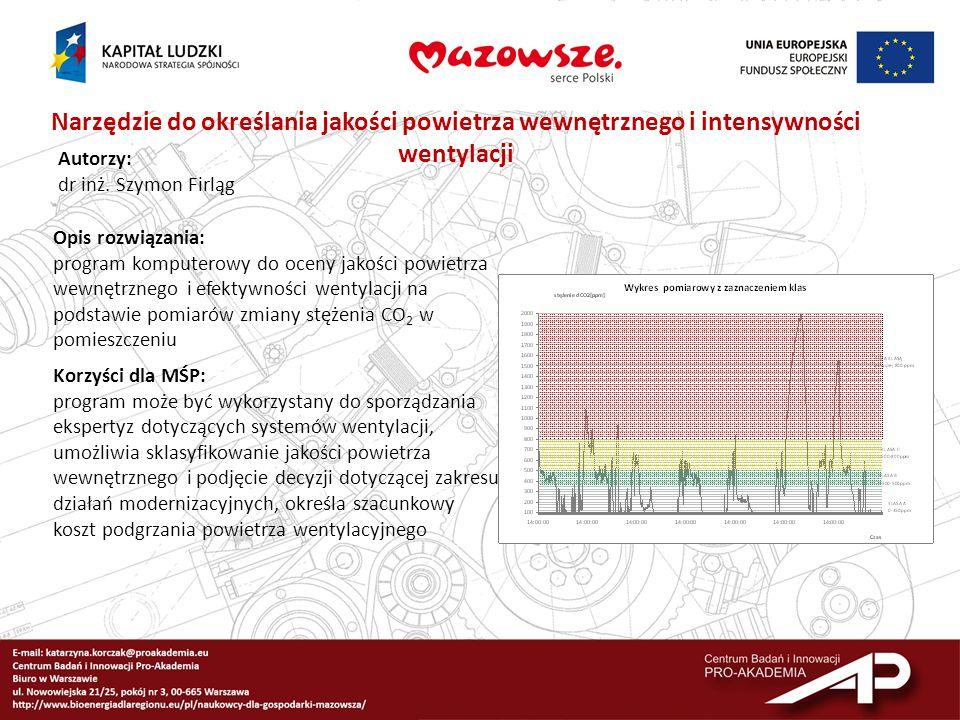 Narzędzie do określania jakości powietrza wewnętrznego i intensywności wentylacji