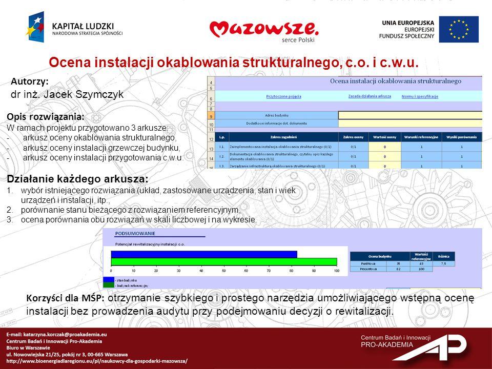 Ocena instalacji okablowania strukturalnego, c.o. i c.w.u.