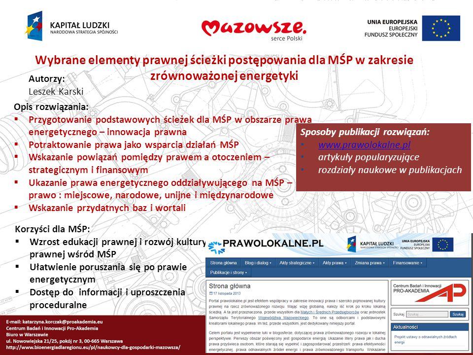 Wybrane elementy prawnej ścieżki postępowania dla MŚP w zakresie zrównoważonej energetyki