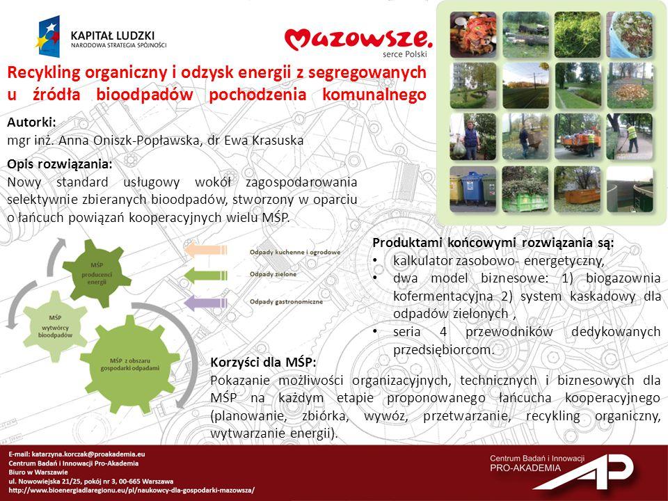 Recykling organiczny i odzysk energii z segregowanych u źródła bioodpadów pochodzenia komunalnego