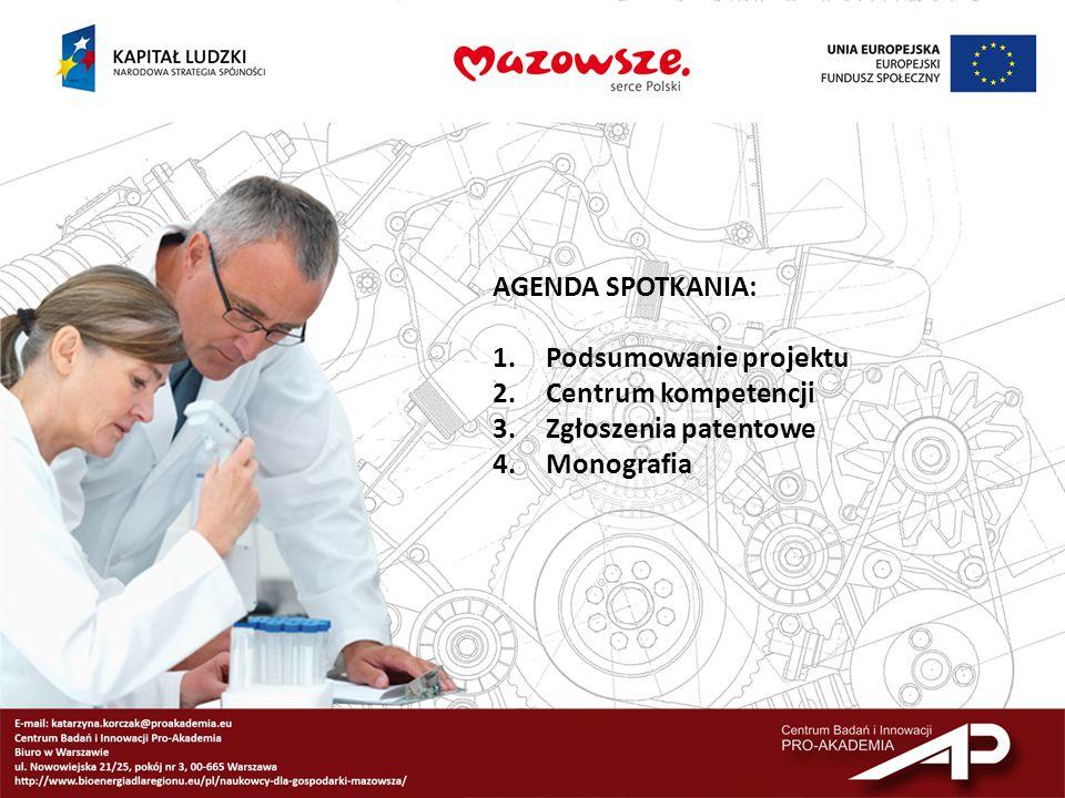 AGENDA SPOTKANIA: Podsumowanie projektu Centrum kompetencji Zgłoszenia patentowe Monografia