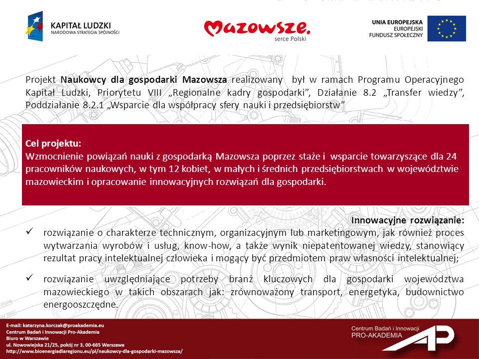"""Projekt Naukowcy dla gospodarki Mazowsza realizowany był w ramach Programu Operacyjnego Kapitał Ludzki, Priorytetu VIII """"Regionalne kadry gospodarki , Działanie 8.2 """"Transfer wiedzy , Poddziałanie 8.2.1 """"Wsparcie dla współpracy sfery nauki i przedsiębiorstw"""