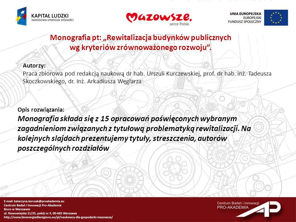 """Monografia pt: """"Rewitalizacja budynków publicznych"""