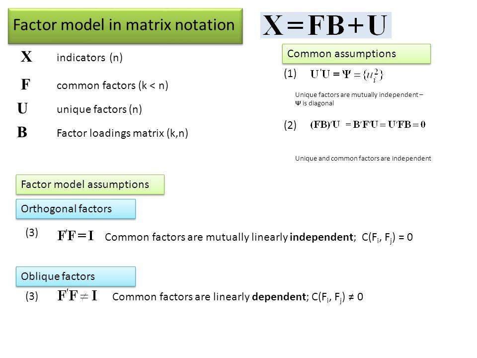 Factor model in matrix notation