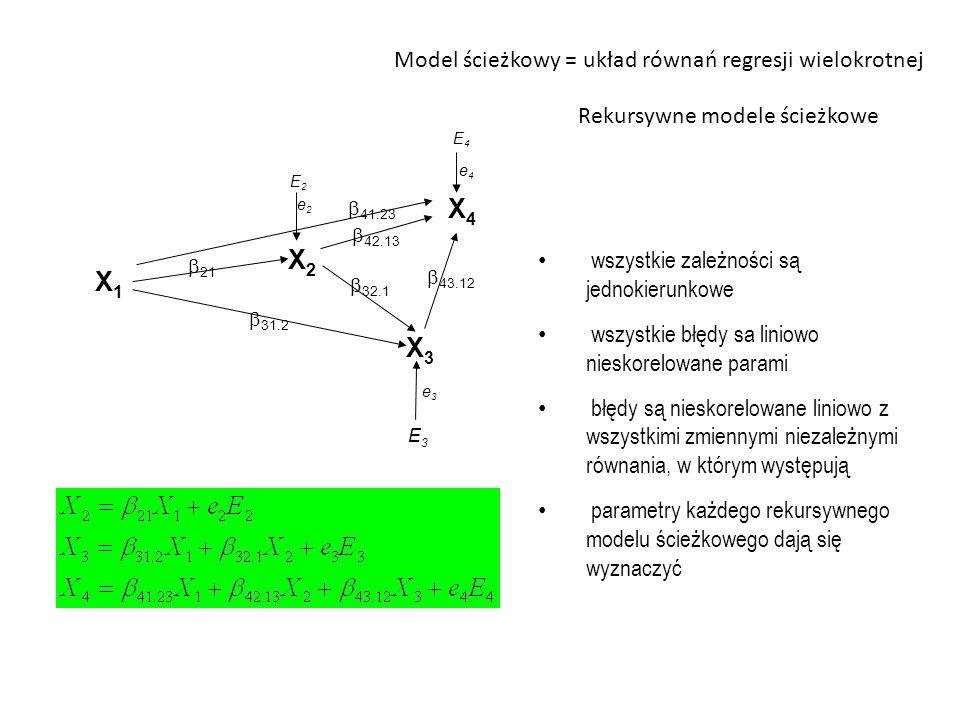 X4 X2 X1 X3 Model ścieżkowy = układ równań regresji wielokrotnej