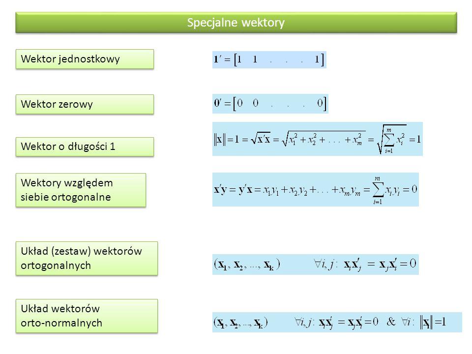 Specjalne wektory Wektor jednostkowy Wektor zerowy Wektor o długości 1