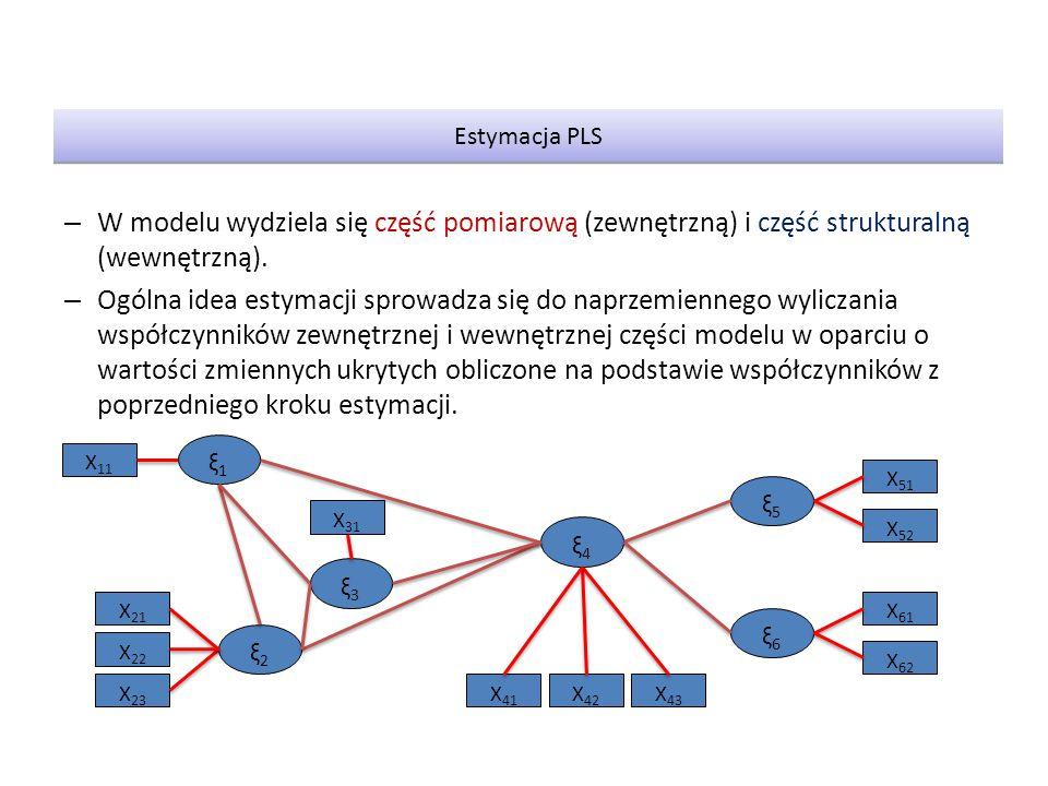 Estymacja PLS W modelu wydziela się część pomiarową (zewnętrzną) i część strukturalną (wewnętrzną).