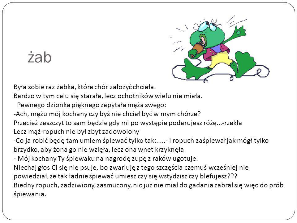 żab Była sobie raz żabka, która chór założyć chciała.