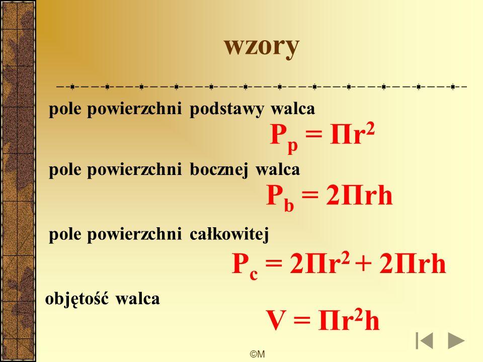 wzory Pp = Πr2 Pb = 2Πrh Pc = 2Πr2 + 2Πrh V = Πr2h