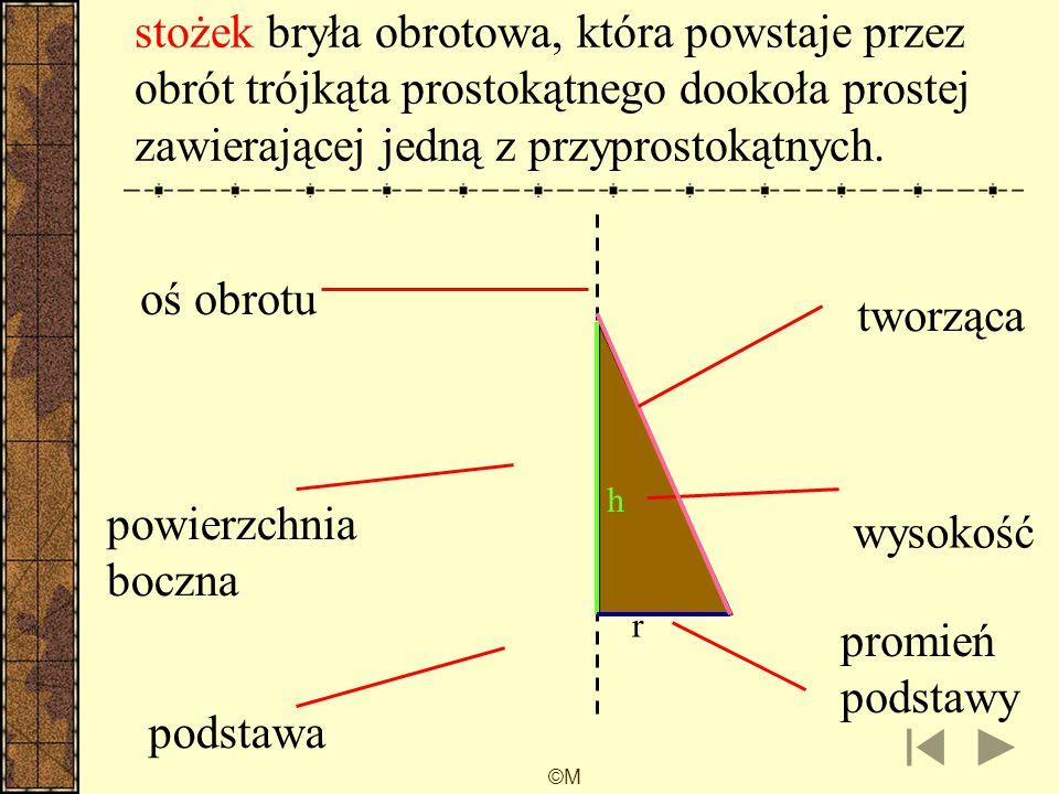 stożek bryła obrotowa, która powstaje przez obrót trójkąta prostokątnego dookoła prostej zawierającej jedną z przyprostokątnych.