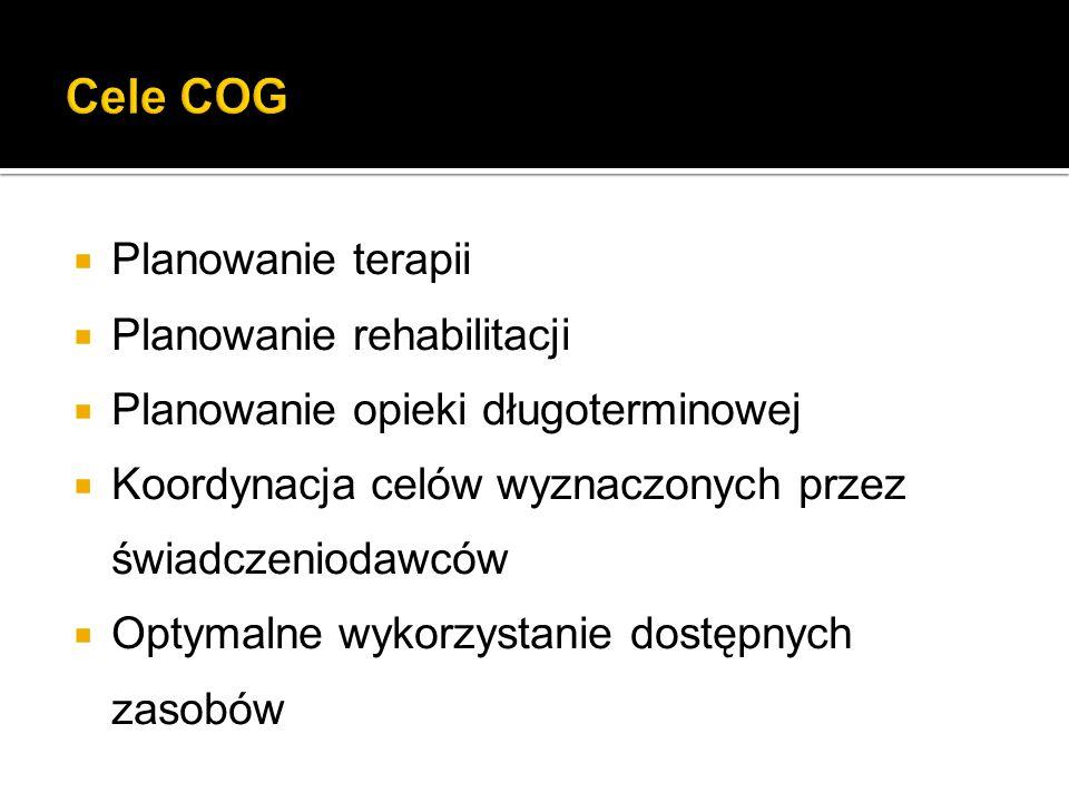 Cele COG Planowanie terapii Planowanie rehabilitacji
