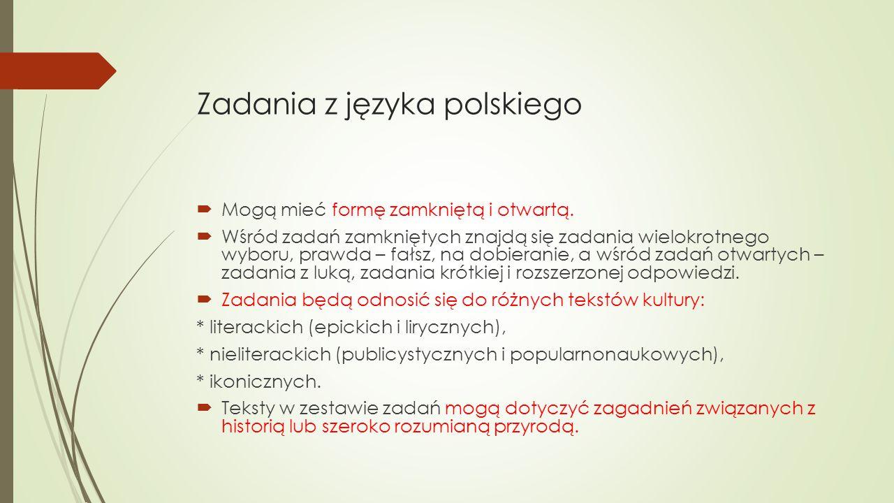 Zadania z języka polskiego