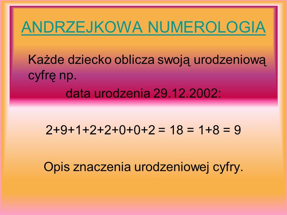 ANDRZEJKOWA NUMEROLOGIA