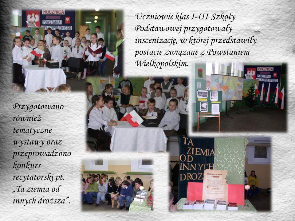 Uczniowie klas I-III Szkoły Podstawowej przygotowały inscenizację, w której przedstawiły postacie związane z Powstaniem Wielkopolskim.