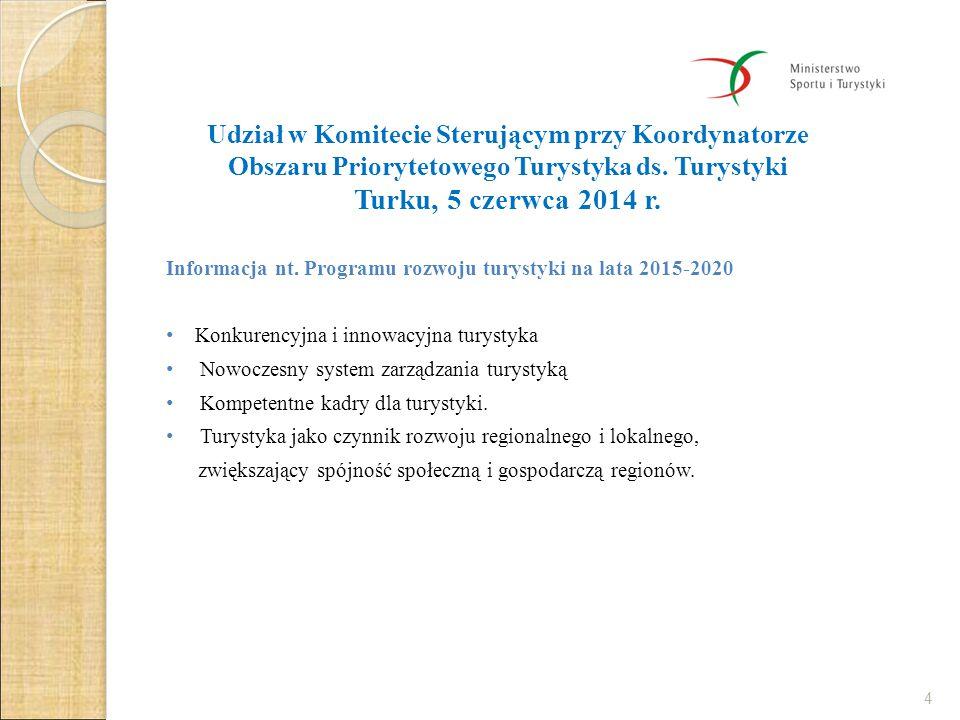 Udział w Komitecie Sterującym przy Koordynatorze Obszaru Priorytetowego Turystyka ds. Turystyki Turku, 5 czerwca 2014 r.