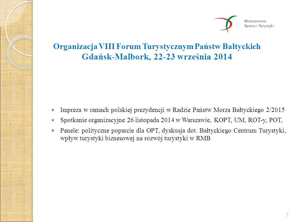 Organizacja VIII Forum Turystycznym Państw Bałtyckich Gdańsk-Malbork, 22-23 września 2014