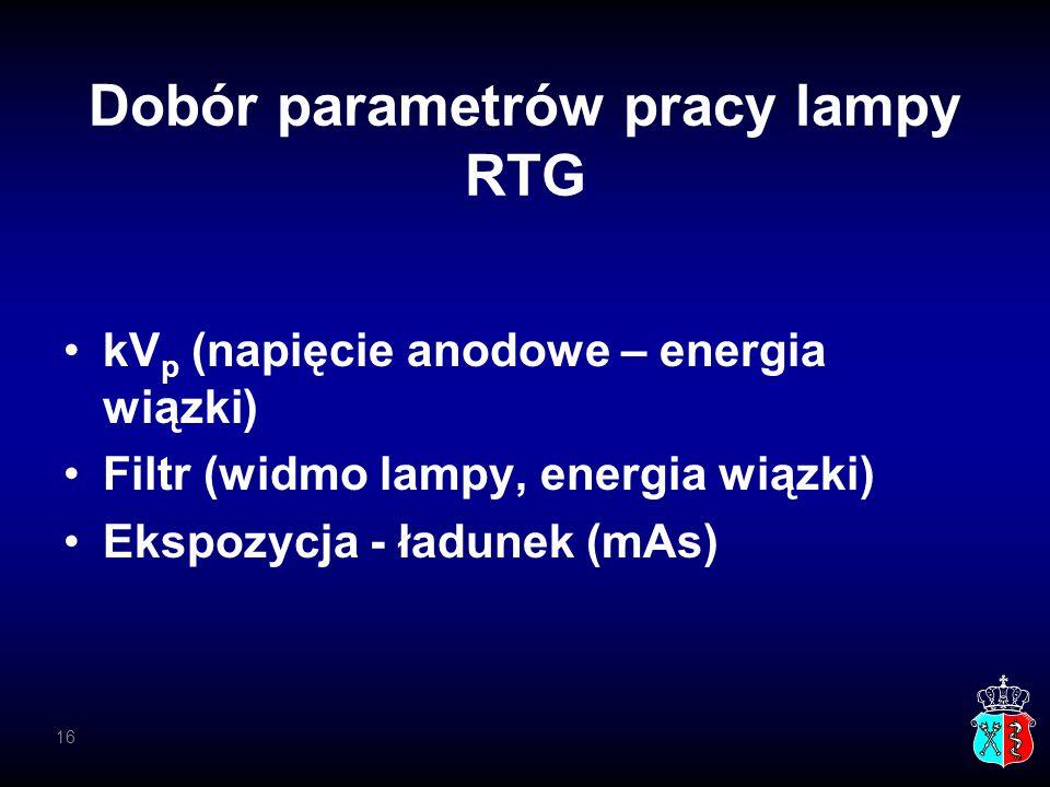 Dobór parametrów pracy lampy RTG