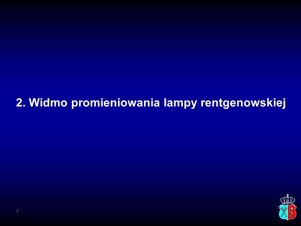 2. Widmo promieniowania lampy rentgenowskiej