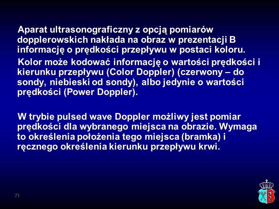 Aparat ultrasonograficzny z opcją pomiarów dopplerowskich nakłada na obraz w prezentacji B informację o prędkości przepływu w postaci koloru.
