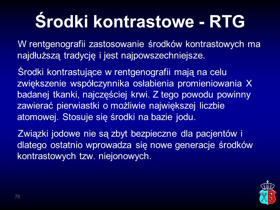 Środki kontrastowe - RTG