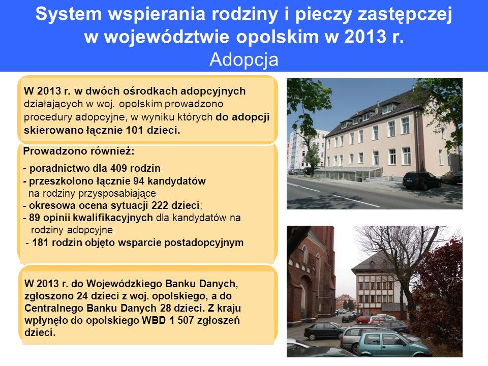 System wspierania rodziny i pieczy zastępczej w województwie opolskim w 2013 r. Adopcja