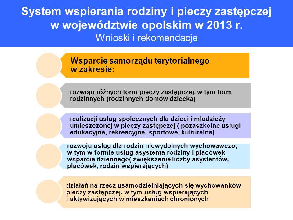 System wspierania rodziny i pieczy zastępczej w województwie opolskim w 2013 r. Wnioski i rekomendacje