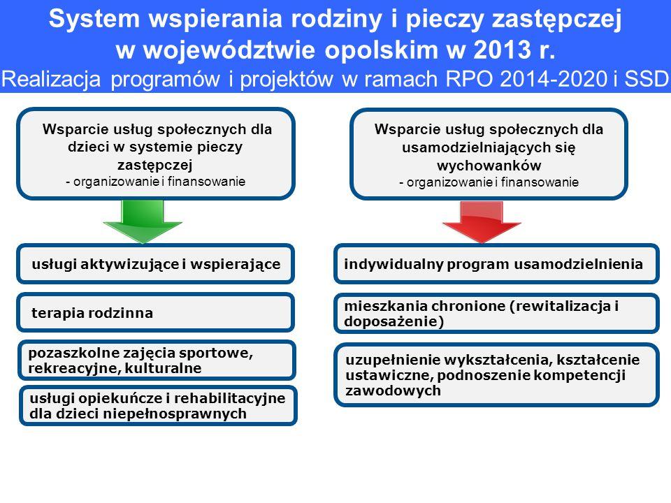System wspierania rodziny i pieczy zastępczej w województwie opolskim w 2013 r. Realizacja programów i projektów w ramach RPO 2014-2020 i SSD