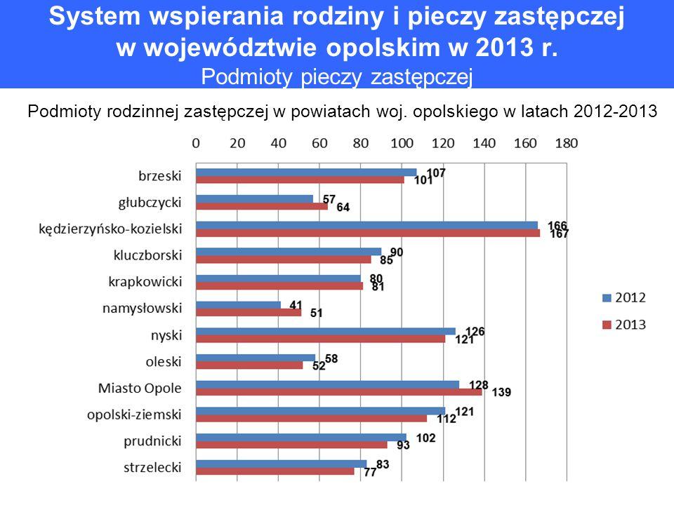 System wspierania rodziny i pieczy zastępczej w województwie opolskim w 2013 r. Podmioty pieczy zastępczej